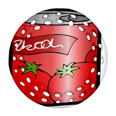 Beverage Can Drink Juice Tomato Round Filigree Ornament (two Sides)