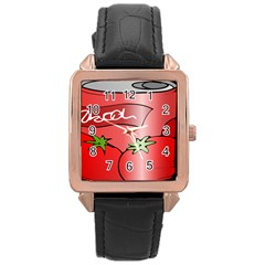 Beverage Can Drink Juice Tomato Rose Gold Leather Watch