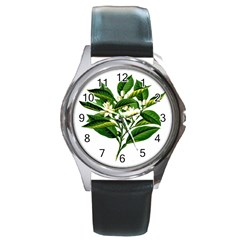 Bitter Branch Citrus Edible Floral Round Metal Watch