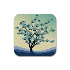 Branches Field Flora Forest Fruits Rubber Square Coaster (4 Pack)