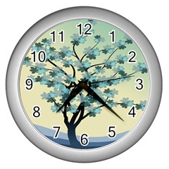 Branches Field Flora Forest Fruits Wall Clocks (silver)