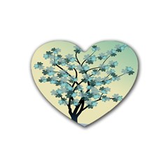 Branches Field Flora Forest Fruits Rubber Coaster (heart)