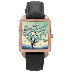 Branches Field Flora Forest Fruits Rose Gold Leather Watch