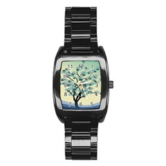Branches Field Flora Forest Fruits Stainless Steel Barrel Watch