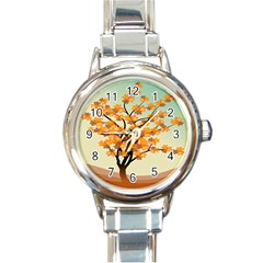 Branches Field Flora Forest Fruits Round Italian Charm Watch
