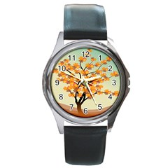 Branches Field Flora Forest Fruits Round Metal Watch