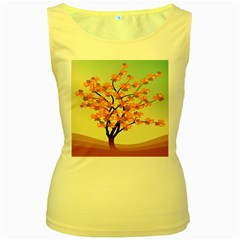 Branches Field Flora Forest Fruits Women s Yellow Tank Top
