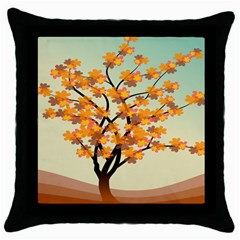 Branches Field Flora Forest Fruits Throw Pillow Case (black)