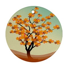 Branches Field Flora Forest Fruits Round Ornament (two Sides)