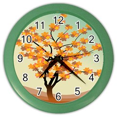 Branches Field Flora Forest Fruits Color Wall Clocks
