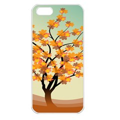 Branches Field Flora Forest Fruits Apple Iphone 5 Seamless Case (white)
