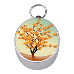 Branches Field Flora Forest Fruits Mini Silver Compasses