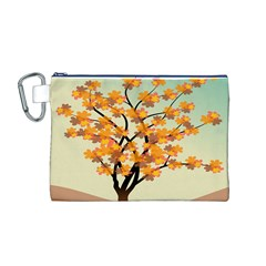 Branches Field Flora Forest Fruits Canvas Cosmetic Bag (m)