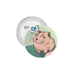 Cat Animal Fish Thinking Cute Pet 1 75  Buttons