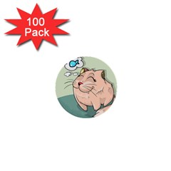 Cat Animal Fish Thinking Cute Pet 1  Mini Buttons (100 Pack)