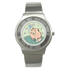 Cat Animal Fish Thinking Cute Pet Stainless Steel Watch
