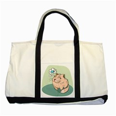 Cat Animal Fish Thinking Cute Pet Two Tone Tote Bag