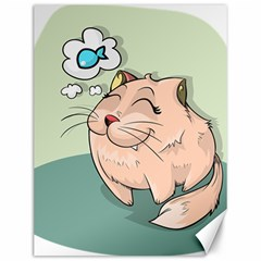 Cat Animal Fish Thinking Cute Pet Canvas 12  X 16