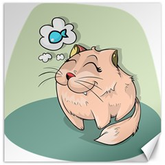 Cat Animal Fish Thinking Cute Pet Canvas 20  X 20