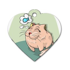 Cat Animal Fish Thinking Cute Pet Dog Tag Heart (two Sides)