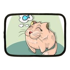 Cat Animal Fish Thinking Cute Pet Netbook Case (medium)