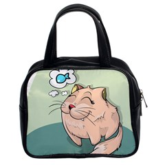 Cat Animal Fish Thinking Cute Pet Classic Handbags (2 Sides)