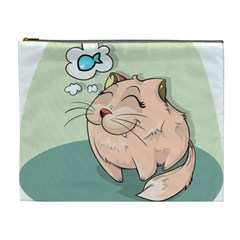 Cat Animal Fish Thinking Cute Pet Cosmetic Bag (xl)