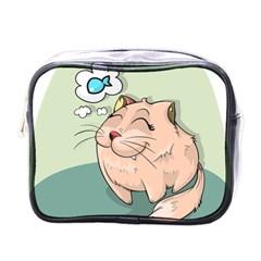 Cat Animal Fish Thinking Cute Pet Mini Toiletries Bags