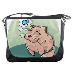 Cat Animal Fish Thinking Cute Pet Messenger Bags