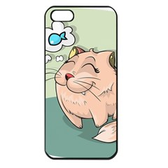 Cat Animal Fish Thinking Cute Pet Apple Iphone 5 Seamless Case (black)