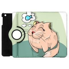 Cat Animal Fish Thinking Cute Pet Apple Ipad Mini Flip 360 Case