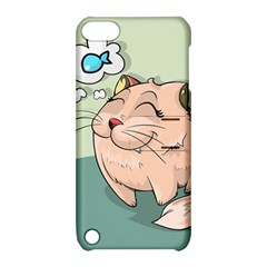 Cat Animal Fish Thinking Cute Pet Apple Ipod Touch 5 Hardshell Case With Stand