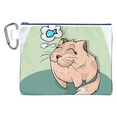 Cat Animal Fish Thinking Cute Pet Canvas Cosmetic Bag (xxl)
