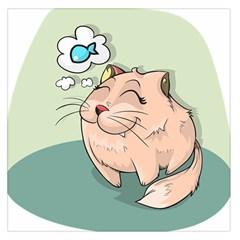 Cat Animal Fish Thinking Cute Pet Large Satin Scarf (square)
