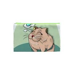 Cat Animal Fish Thinking Cute Pet Cosmetic Bag (xs)