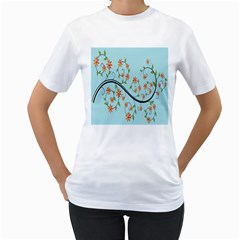 Branch Floral Flourish Flower Women s T Shirt (white) (two Sided)