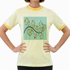 Branch Floral Flourish Flower Women s Fitted Ringer T Shirts