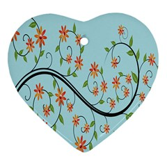 Branch Floral Flourish Flower Heart Ornament (two Sides)