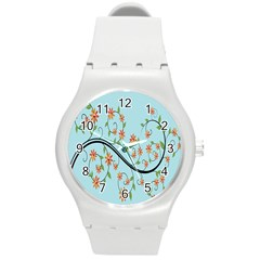 Branch Floral Flourish Flower Round Plastic Sport Watch (m)