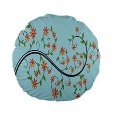 Branch Floral Flourish Flower Standard 15  Premium Flano Round Cushions