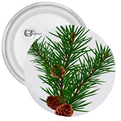Branch Floral Green Nature Pine 3  Buttons