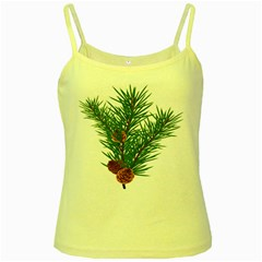 Branch Floral Green Nature Pine Yellow Spaghetti Tank