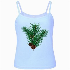 Branch Floral Green Nature Pine Baby Blue Spaghetti Tank