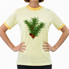 Branch Floral Green Nature Pine Women s Fitted Ringer T Shirts