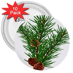 Branch Floral Green Nature Pine 3  Buttons (10 Pack)