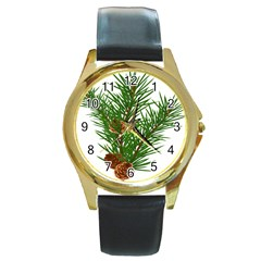 Branch Floral Green Nature Pine Round Gold Metal Watch