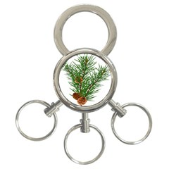 Branch Floral Green Nature Pine 3 Ring Key Chains