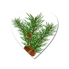 Branch Floral Green Nature Pine Heart Magnet