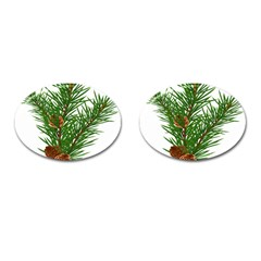 Branch Floral Green Nature Pine Cufflinks (oval)