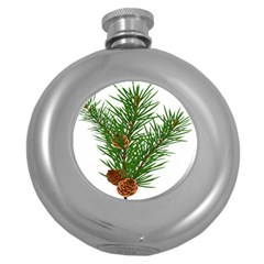 Branch Floral Green Nature Pine Round Hip Flask (5 Oz)